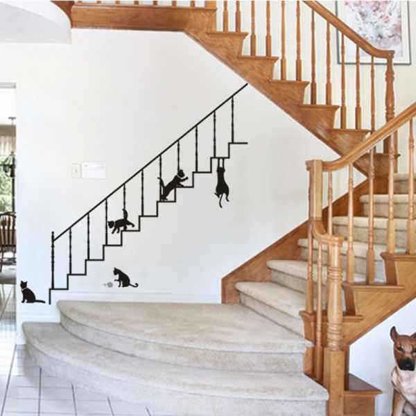 Stickieart Playful Cats On Stairs Wall Decal Large 60 X 90 Cm Sta 190 Souq Uae