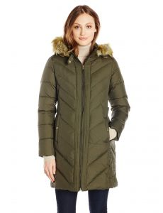 e4b62258699 LARRY LEVINE Women s Long Sleeve Down Coat with Side Tabs and Hood