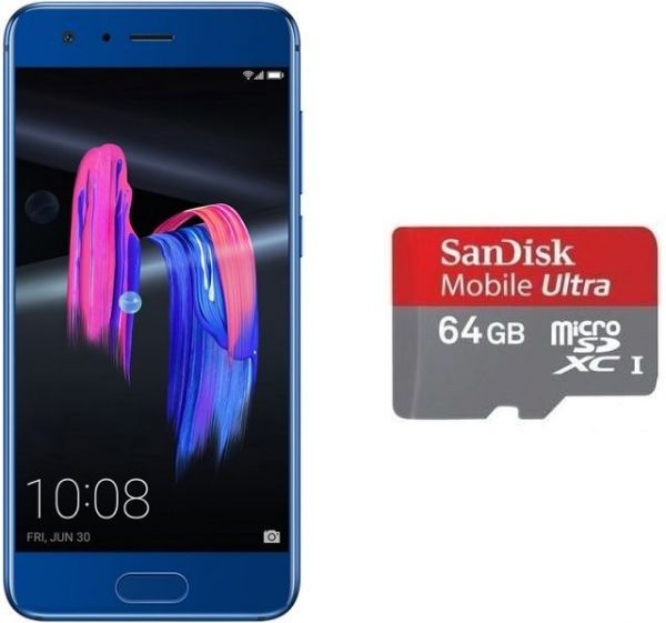 Honor 9 Dual Sim- 64GB, 4GB RAM, 4G LTE, Sapphire Blue with Sandisk 64GB Micro SD Card