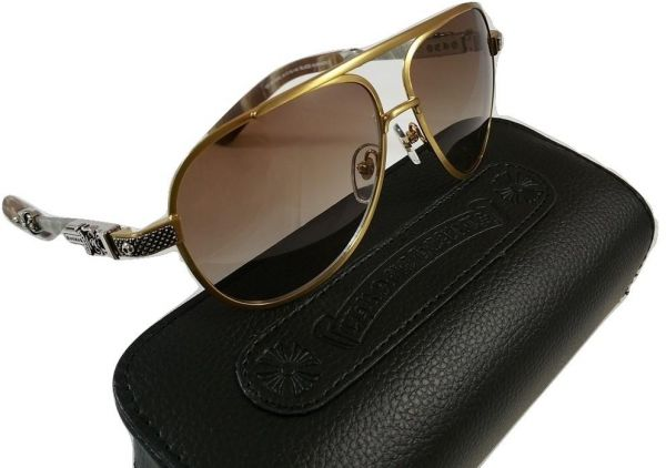 b6183605604c CHROME HEARTS Blade Hummer II sunglasses in Gold brush and Silver ...