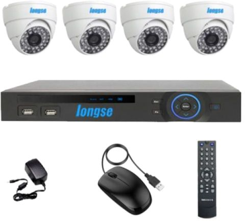 Longse AHD 4 Channels DVR with 4 Indoor Security Camera