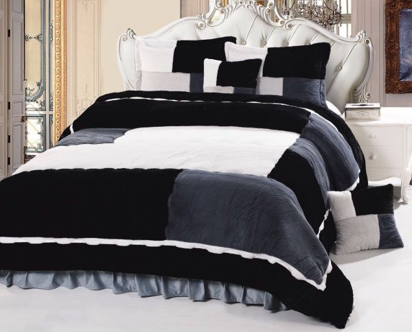 Luxury Winter 6 Piece Comforter Set King Size Gray Souq Uae