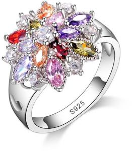 Bestpicks 925 Sterling Silver Colorful Flower Hollow Heart Wedding Engagement Party Accessories Ring Gift For Las Women