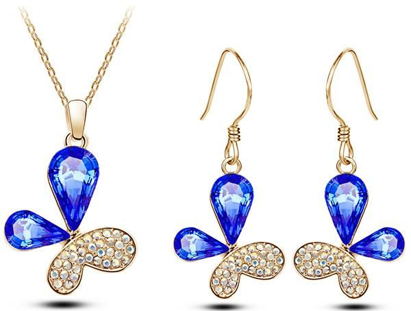 Austrian Crystal blue Butterfly Pendant necklace earring Brand fashion Jewelry Set