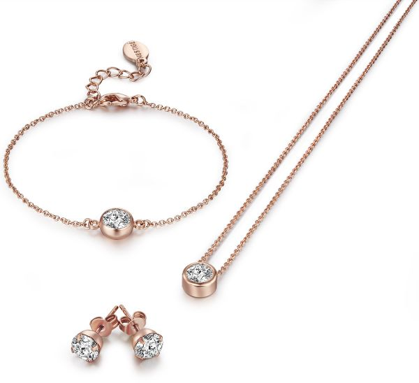 Mestige MSSE3143 Women's Rose Gold Rose and Diamond Jewelry Set, 3 Pieces