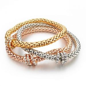 3 Piece Fashion Bling Shiny Braided Bangle Bracelet Set of Three Colors ( Gold/Rose Gold/Silver)