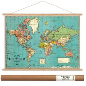World map vintage style charcoal poster print icanvasartcavallini cavallini papers bacons world map vintage style decorative poster hanger kit 28 x 20 gumiabroncs Images