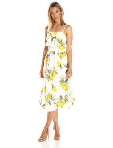 8a6cbbb0a81 Moon River Women s Lemon Print Midi Dress