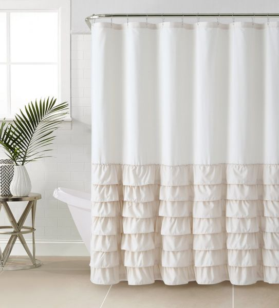 VCNY Melanie Ruffle Shower Curtain 72 X Beige ML3 SHC 7272 IN TA