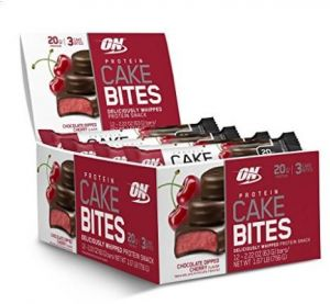 Optimum Nutrition Protein Cake Bites Whipped Snack Bar Flavor Chocolate Dipped Cherry 12 Count