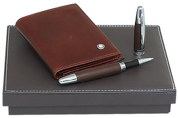 Buy leather wallet business card holder with brown leather roller 10500 aed colourmoves