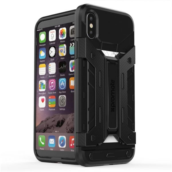 Promate iPhone X Case, Heavy Duty Full Body Protective Rugged Armor Hard Cover with Card Holder, Shockproof, Drop Protection and Kickstand Case for Apple ...