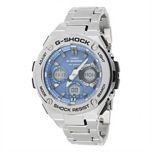 Casio Men's Blue Dial Stainless Steel Band Watch - GST-S110D-2ADR