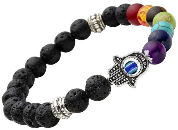 Spiritual Uni Men Women 8mm Lava Rock Beads 7 Chakra Evil Eye Bracelet Black Healing Energy Stone Reiki Gemstone