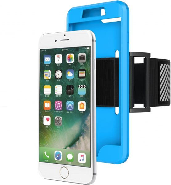 Apple Iphone 7 Plus - Silicone Phone Case, Sports Arm Band, Running Fitness Phone Sets, Riding Outdoor Supplies - Light Blue