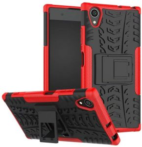 reputable site a6fe6 37724 Sony Xperia XA1 Plus -Hybrid TPU Armor Silicone Rubber Hard Back Impact  Stand Case Cover Red