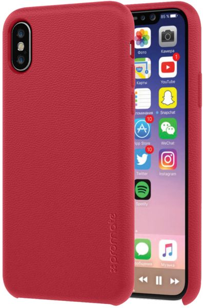 51b875eeb9a46c Promate iPhone X Case Cover, Luxury Slim-Fit Genuine Leather Protective Case  with Shock Resistance and Drop Proof for Apple iPhone X / iPhone 10, Coat-X  Red