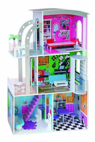 Wooden Doll House With Lift Barbi Girl Birthday Gift