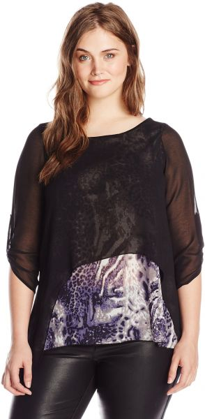 1a1189970268 Yours Clothing Women s Plus-Size Animal Print Georgette Layered Top ...