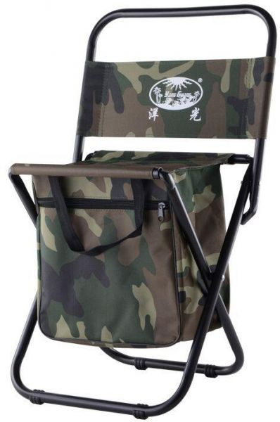 Mini Protable Backpack Folding Chair With Cooler Bag Storage Pockets Convenient Ultra Lightweight Compact Outdoor Seat For Fishing Camouflage