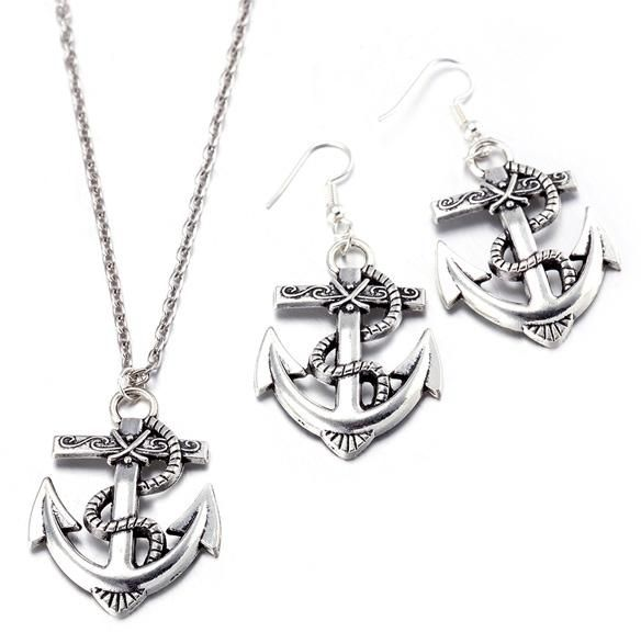 Znworld 3PCS Anchor Silver Stainless Steel Pendant Chain Earrings  Necklace  Set