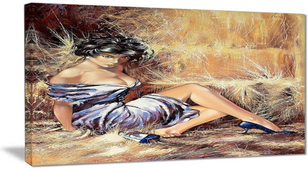 Designart Girl Setting on Floor Portrait Metal Wall Art - MT6311 ... 8d0303f780
