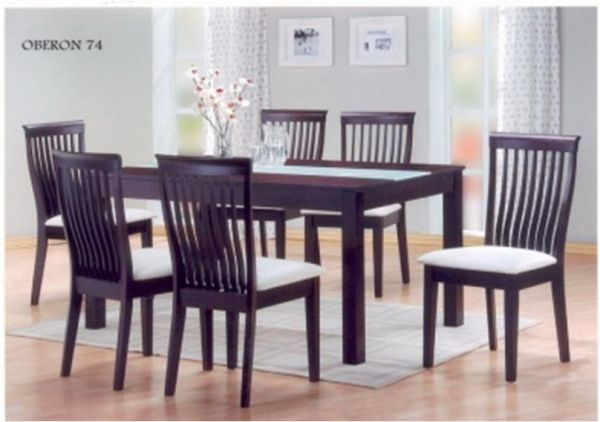 Six Seater Solid Wood Dining Table In Walnut Brown Color