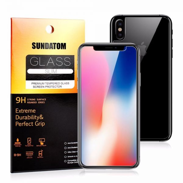 sale retailer aa98f 0dd59 SUNDATOM iPhone X Screen Protector Full Body Front and Back, Tempered Glass  Screen Protector