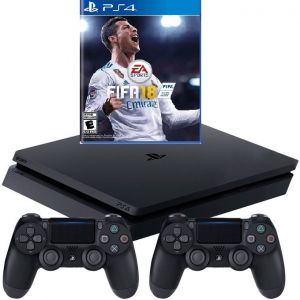 PlayStation 4 - console (1TB, black, slim) incl. FIFA 18 + 2 DualShock Controller