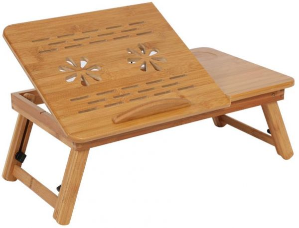 Laptop Foldable Bamboo Table With 2 Cooling Fan Podtable .