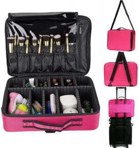 f0ad00e7eaf Large Capacity Makeup Brush Bag Case Cosmetic Pouch Storage Handle Organizer  Travel,pink