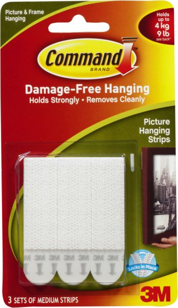 Command 17201 Picture Hanging Strips Medium 3 Strips White