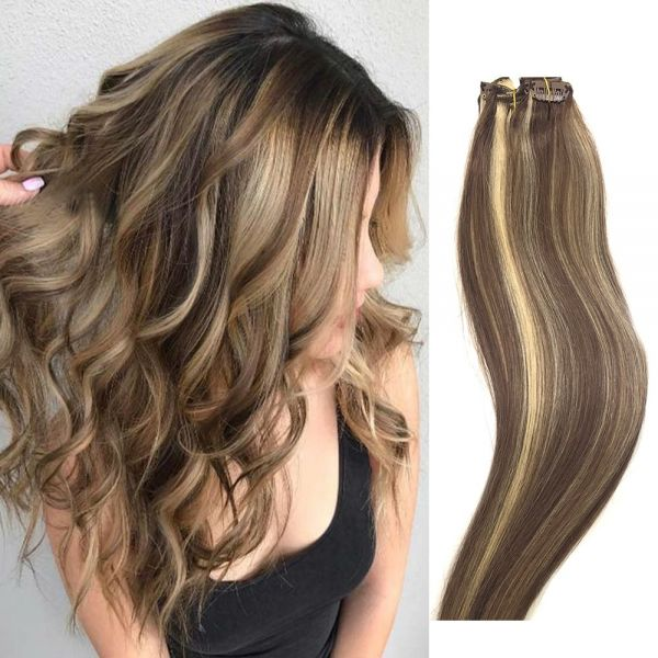 Souq Clip In Hair Extensions Human Hair Light Brown To Blonde