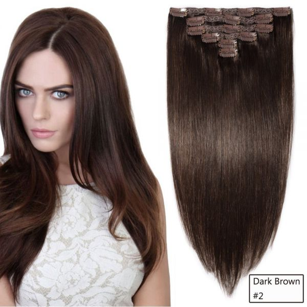 Souq Cheeon 14 Dark Brown Clip In Hair Extensions Brazilian Remy