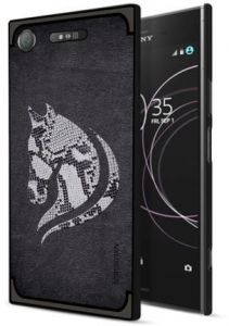 Sony Xperia XZ1 NXE Textured Horse Pattern TPU Case Cover - Black.