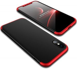 360 Degree Full Body Phone Case Ultra Slim 3 in 1 Hybrid Hard PC Tempered Glass Film Screen Protector Shockproof Soft Grip Back Cover for iPhone X 5.8 inch