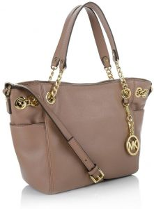 76d3ae4c8f5f Michael Kors Jet Set Chain Item Large Gather Leather Shoulder Tote Beige