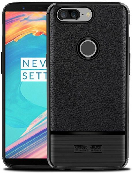 Mustaner Carbon Fiber Shock-Absorption Flexible TPU Cover for Oneplus 5T -  Black