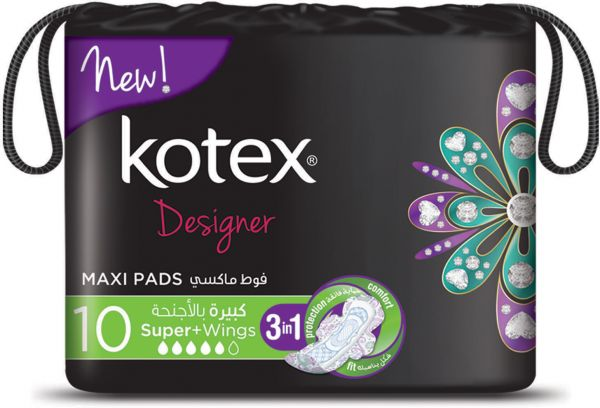 Kotex Designer Maxi Pads Super With Wings 10s Souq Uae