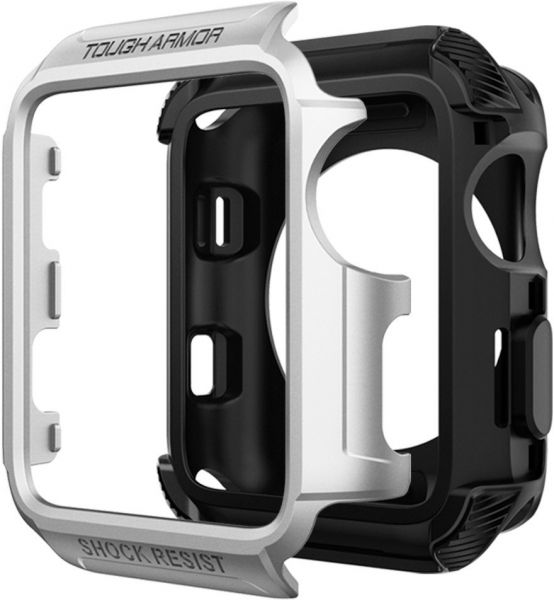 official photos 7ccd4 99269 Spigen Apple Watch 42mm Series 3 / Series 2 / 1 Tough Armor 2 Cover / Case  - Silver