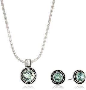 new arrival 36d0d 6cd83 Napier Womens Swarovski Necklace Earring Jewelry Set, Chrysolite