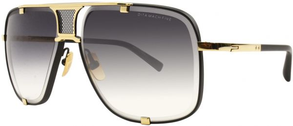 9913edb1d8ba7 Dita Mach Five Sunglasses 2087 Gold brush Matte Black frame with Grey  Gradient Lens Unisex