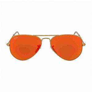 d66e26b7b96 Ray-Ban AVIATOR LARGE METAL - MATTE GOLD Frame CRYSTAL BROWN MIRROR ORANGE  Lenses 55mm Non-Polarized