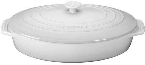 Le Creuset Uni 3 75 Qt Covered Oval Cerole 4 Quart White Pg1140s 3616
