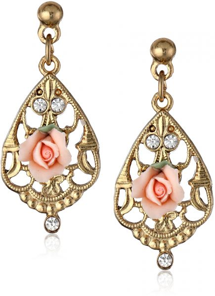 1928 Jewelry Gold-Tone Color Porcelain Rose with Crystal Accent Filigree Drop Earrings One Size