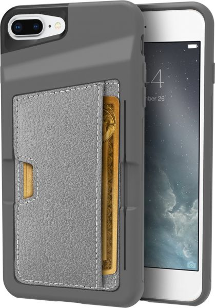 quality design 9672e d67ec Silk iPhone 7 Plus/8 Plus Wallet Case - Q Card CASE [Slim Protective  Kickstand CM4 Grip Cover] - Wallet Slayer Vol. 2 - Gunmetal Gray