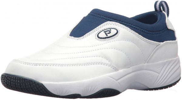 Propet Women's Wash N Wear Slip on Ll Walking Shoe, Sr White Navy, 9 M US