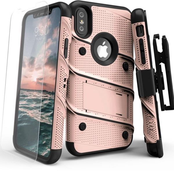 timeless design a3f81 2bc66 iPhone X Case - Zizo [Bolt Series] with Screen Protector, Kickstand [12 ft.  Military Grade Drop Tested] Holster Belt Clip (Rose Gold/Black)