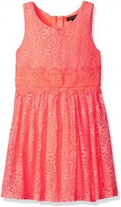 bfa865a2250 My Michelle Big Girls' Solid Skater Dress with Crochet Trim at Waist,  Electric Apricot/Electric Apricot, 12