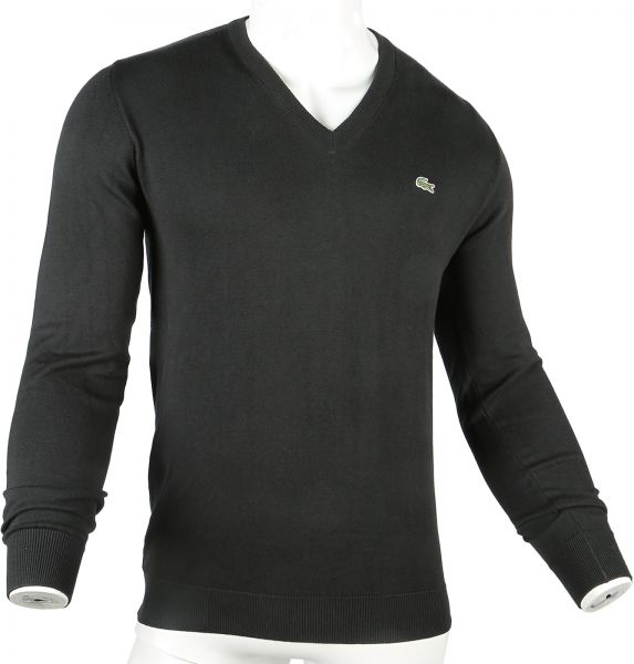 ae126e1e717c Lacoste Black V Neck Hoodie   Sweatshirt For Men. by Lacoste